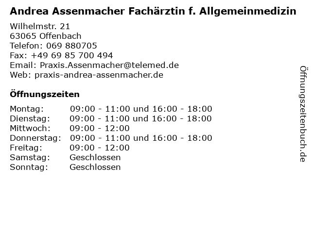 Andrea Assenmacher Fachärztin f. Allgemeinmedizin in Offenbach: Adresse und Öffnungszeiten