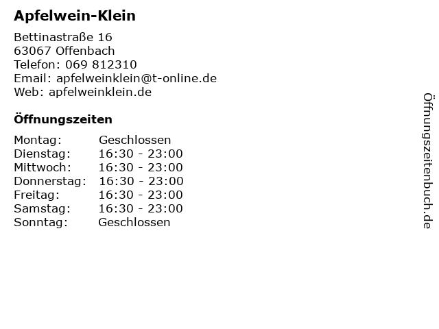 Apfelwein-Klein in Offenbach: Adresse und Öffnungszeiten