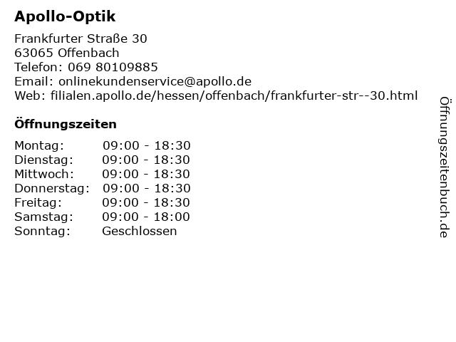 Apollo-Optik Holding GmbH & Co. KG in Offenbach: Adresse und Öffnungszeiten