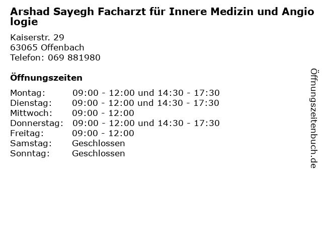 Arshad Sayegh Facharzt für Innere Medizin und Angiologie in Offenbach: Adresse und Öffnungszeiten