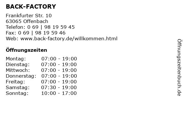 BACK-FACTORY in Offenbach: Adresse und Öffnungszeiten