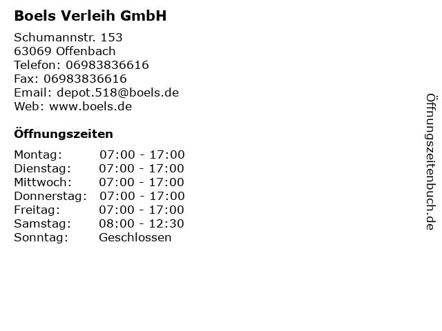 Boels Verleih GmbH in Offenbach: Adresse und Öffnungszeiten