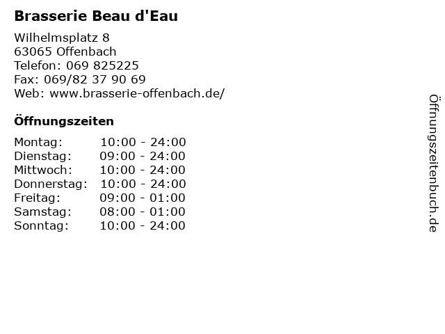 Brasserie Beau d'Eau in Offenbach: Adresse und Öffnungszeiten