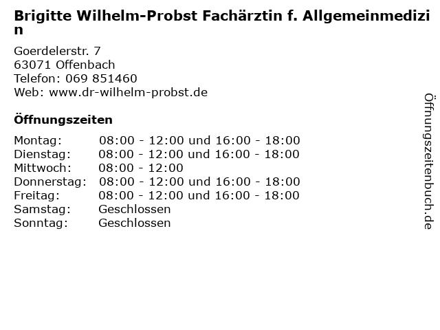 Brigitte Wilhelm-Probst Fachärztin f. Allgemeinmedizin in Offenbach: Adresse und Öffnungszeiten