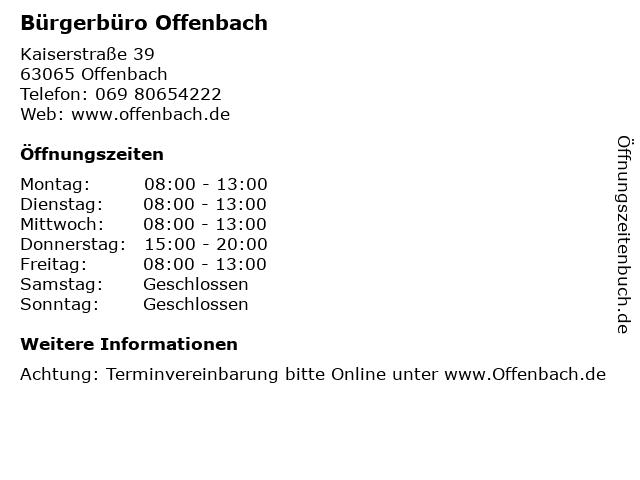 Bürgerbüro Offenbach in Offenbach: Adresse und Öffnungszeiten