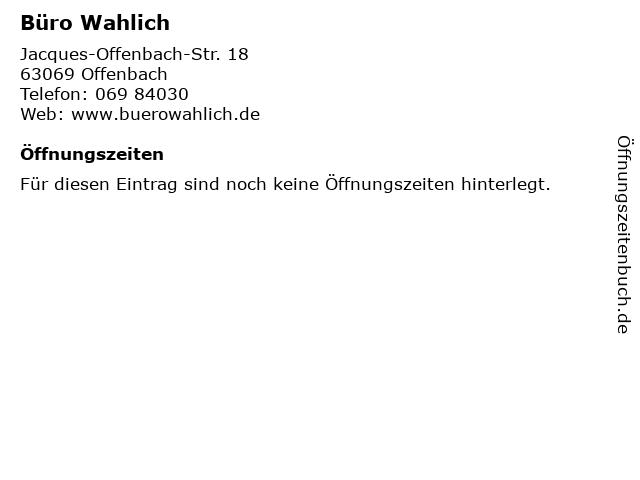 Büro Wahlich in Offenbach: Adresse und Öffnungszeiten