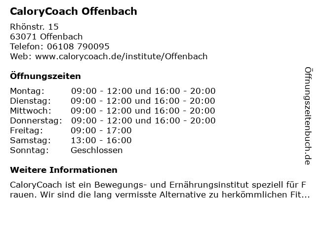 CaloryCoach Offenbach in Offenbach: Adresse und Öffnungszeiten