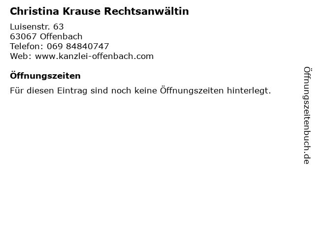 Christina Krause Rechtsanwältin in Offenbach: Adresse und Öffnungszeiten