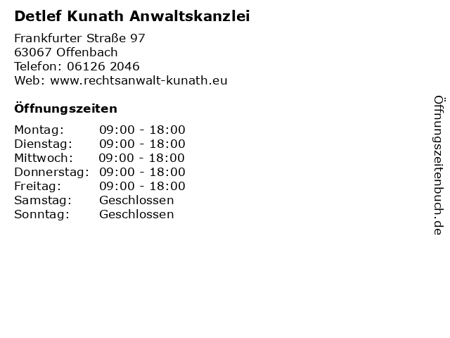 Detlef Kunath Anwaltskanzlei in Offenbach: Adresse und Öffnungszeiten