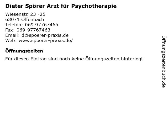 Dieter Spörer Arzt für Psychotherapie in Offenbach: Adresse und Öffnungszeiten