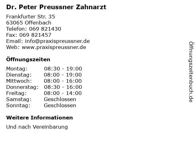 Dr. Peter Preussner Zahnarzt in Offenbach: Adresse und Öffnungszeiten