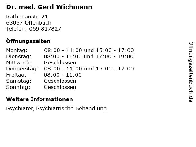 Dr. med. Gerd Wichmann in Offenbach: Adresse und Öffnungszeiten
