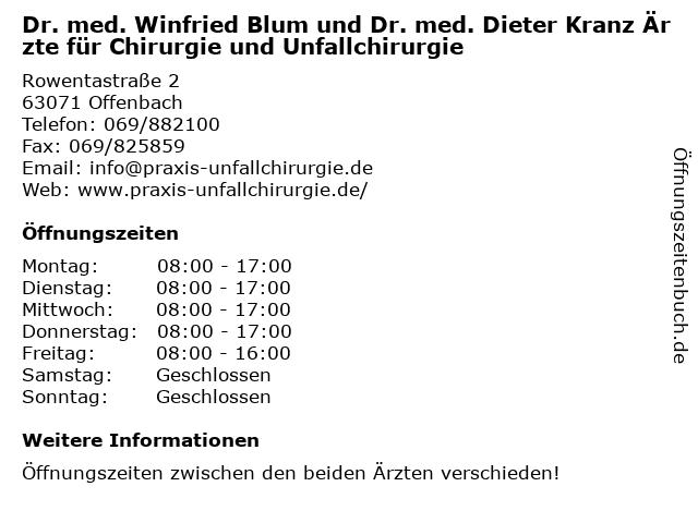 Dr. med. Winfried Blum und Dr. med. Dieter Kranz Ärzte für Chirurgie und Unfallchirurgie in Offenbach: Adresse und Öffnungszeiten