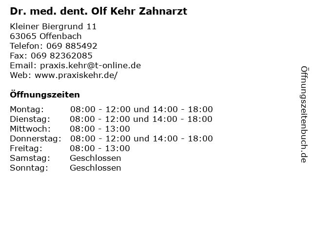 Dr. med. dent. Olf Kehr Zahnarzt in Offenbach: Adresse und Öffnungszeiten