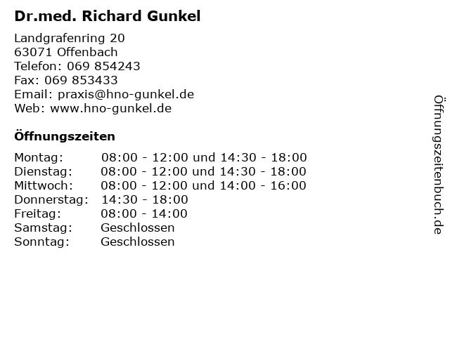 Dr.med. Richard Gunkel in Offenbach: Adresse und Öffnungszeiten