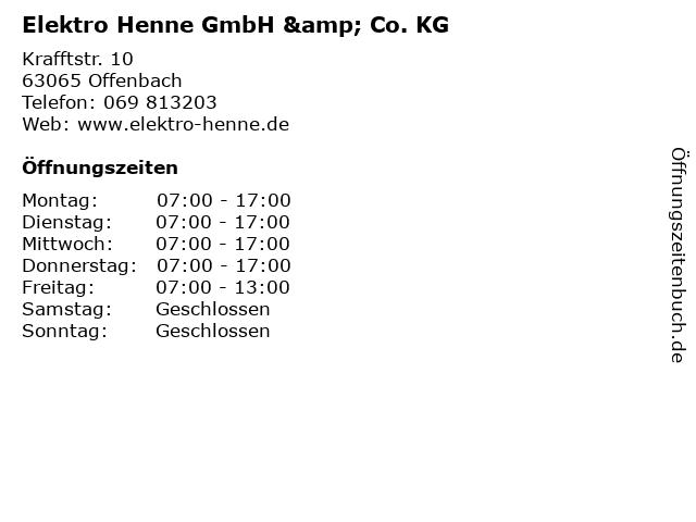 Elektro Henne GmbH & Co. KG in Offenbach: Adresse und Öffnungszeiten