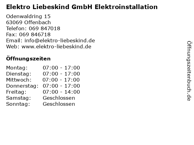 Elektro Liebeskind GmbH Elektroinstallation in Offenbach: Adresse und Öffnungszeiten