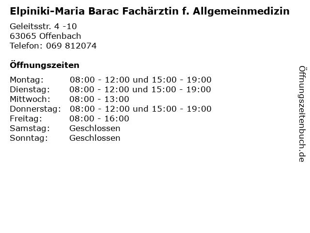 Elpiniki-Maria Barac Fachärztin f. Allgemeinmedizin in Offenbach: Adresse und Öffnungszeiten