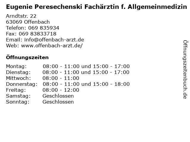 Eugenie Peresechenski Fachärztin f. Allgemeinmedizin in Offenbach: Adresse und Öffnungszeiten