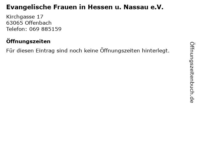 Evangelische Frauen in Hessen u. Nassau e.V. in Offenbach: Adresse und Öffnungszeiten