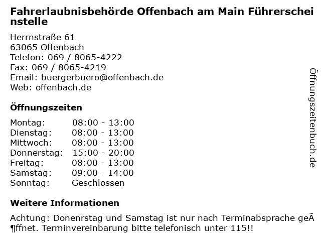 Fahrerlaubnisbehörde Offenbach am Main Führerscheinstelle in Offenbach: Adresse und Öffnungszeiten