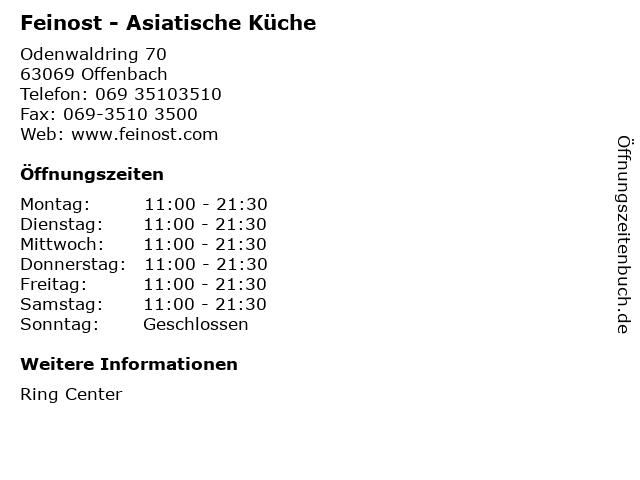Feinost - Asiatische Küche in Offenbach: Adresse und Öffnungszeiten
