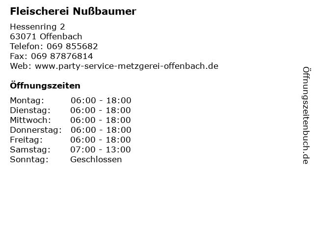 Fleischerei Nußbaumer in Offenbach: Adresse und Öffnungszeiten