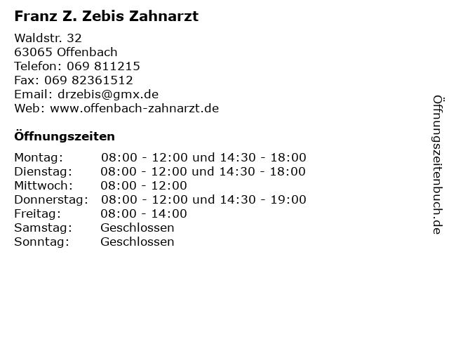 Franz Z. Zebis Zahnarzt in Offenbach: Adresse und Öffnungszeiten