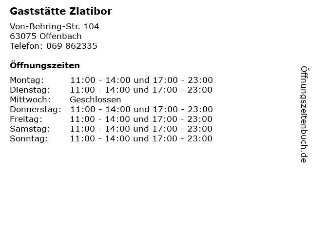Gaststätte Zlatibor in Offenbach: Adresse und Öffnungszeiten