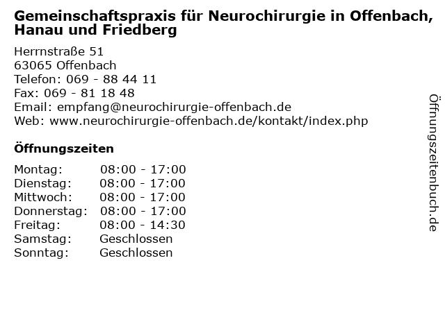 Gemeinschaftspraxis für Neurochirurgie in Offenbach, Hanau und Friedberg in Offenbach: Adresse und Öffnungszeiten