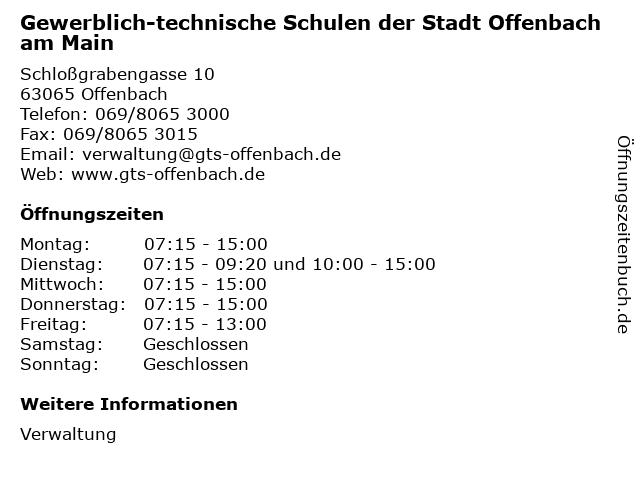 Gewerblich-technische Schulen der Stadt Offenbach am Main in Offenbach: Adresse und Öffnungszeiten