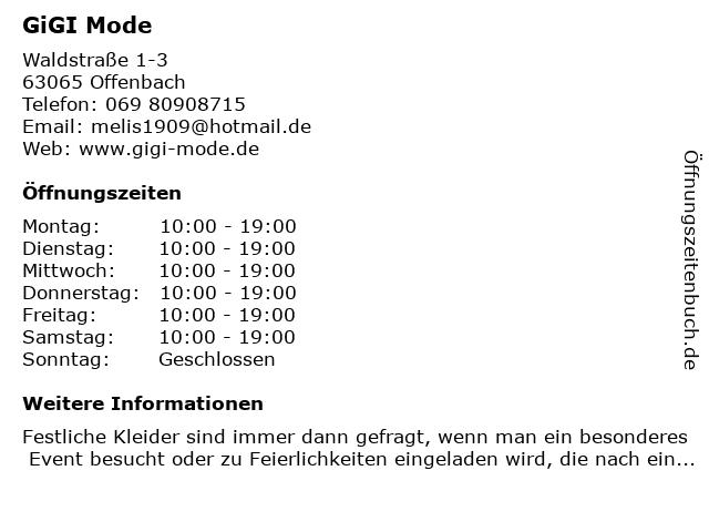 GiGI Mode in Offenbach: Adresse und Öffnungszeiten