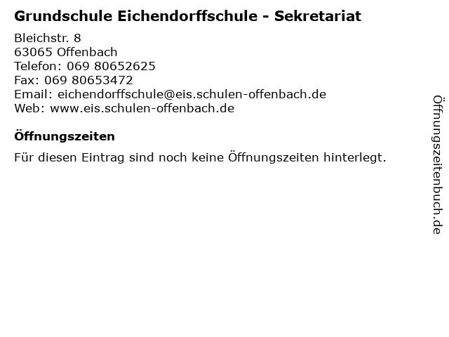 Grundschule Eichendorffschule - Sekretariat in Offenbach: Adresse und Öffnungszeiten