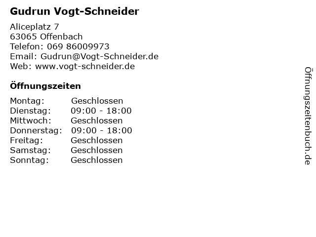 Gudrun Vogt-Schneider in Offenbach: Adresse und Öffnungszeiten