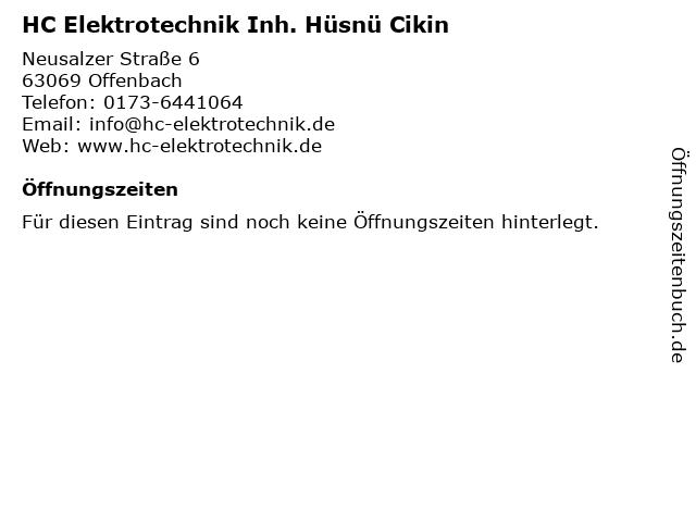 HC Elektrotechnik Inh. Hüsnü Cikin in Offenbach: Adresse und Öffnungszeiten