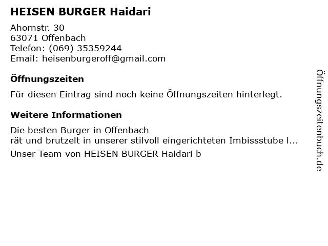 HEISEN BURGER Haidari in Offenbach: Adresse und Öffnungszeiten