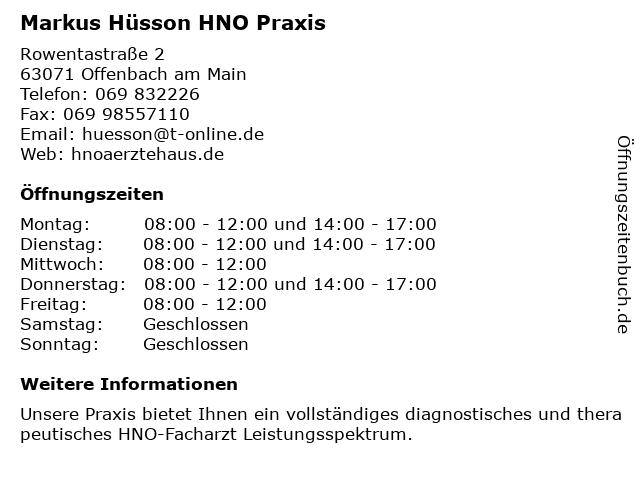 Hals- Nasen- Ohren- FACHARZTPRAXIS MARKUS Hüsson in Offenbach: Adresse und Öffnungszeiten