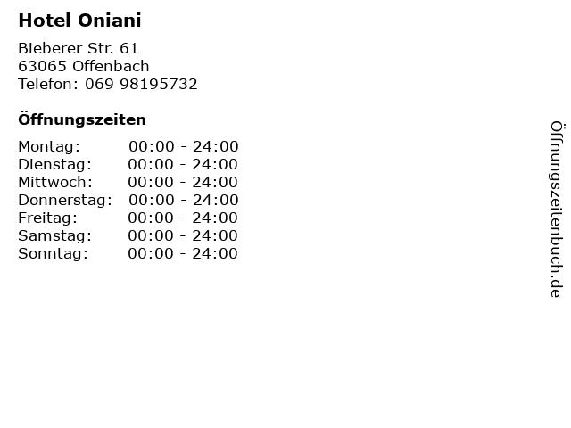 Hotel Oniani in Offenbach: Adresse und Öffnungszeiten