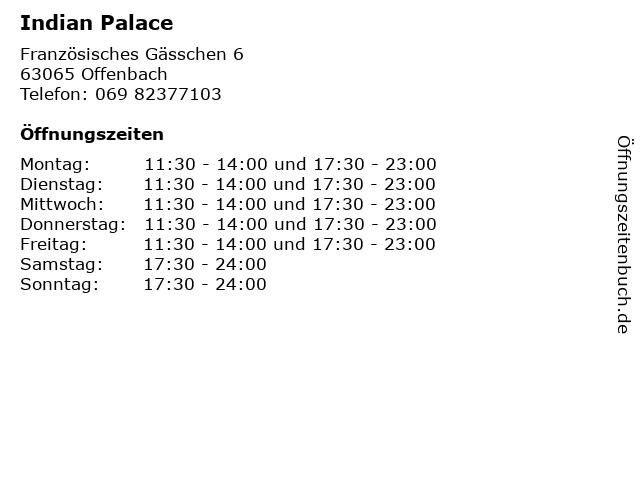 Indian Palace in Offenbach: Adresse und Öffnungszeiten