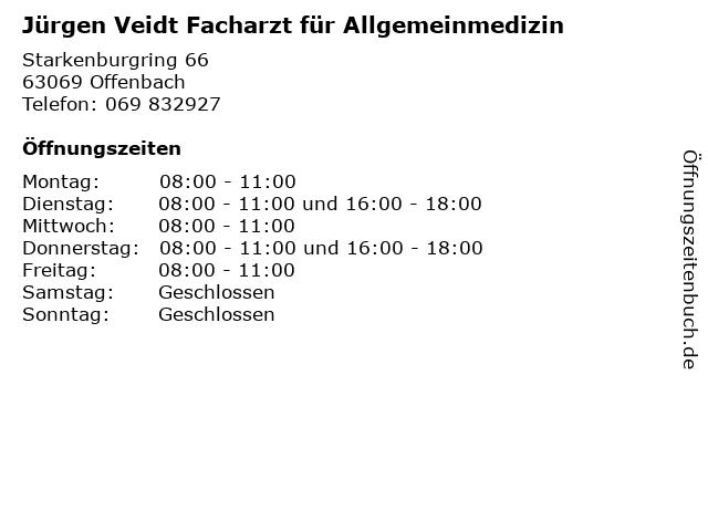 Jürgen Veidt Facharzt für Allgemeinmedizin in Offenbach: Adresse und Öffnungszeiten