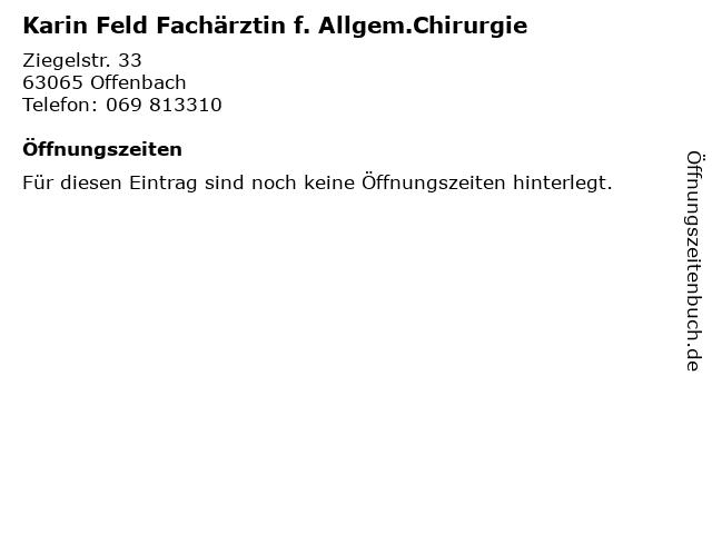 Karin Feld Fachärztin f. Allgem.Chirurgie in Offenbach: Adresse und Öffnungszeiten