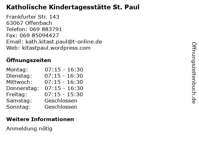 Katholische Kindertagesstätte St. Paul in Offenbach: Adresse und Öffnungszeiten