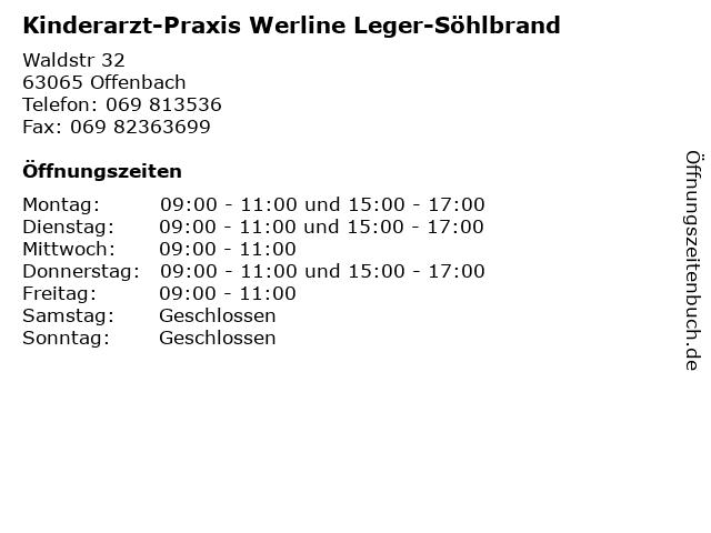 Kinderarzt-Praxis Werline Leger-Söhlbrand in Offenbach: Adresse und Öffnungszeiten