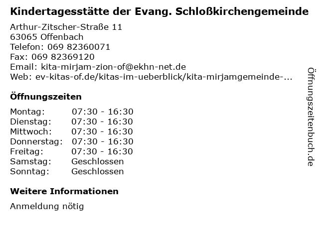 Kindertagesstätte der Evang. Schloßkirchengemeinde in Offenbach: Adresse und Öffnungszeiten