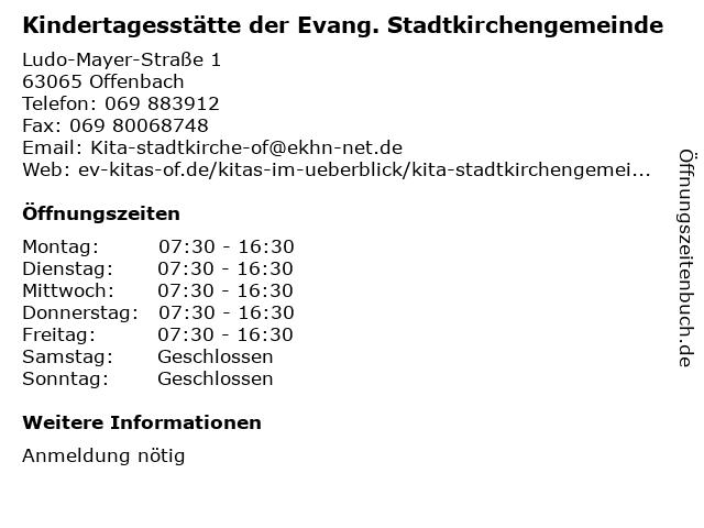 Kindertagesstätte der Evang. Stadtkirchengemeinde in Offenbach: Adresse und Öffnungszeiten