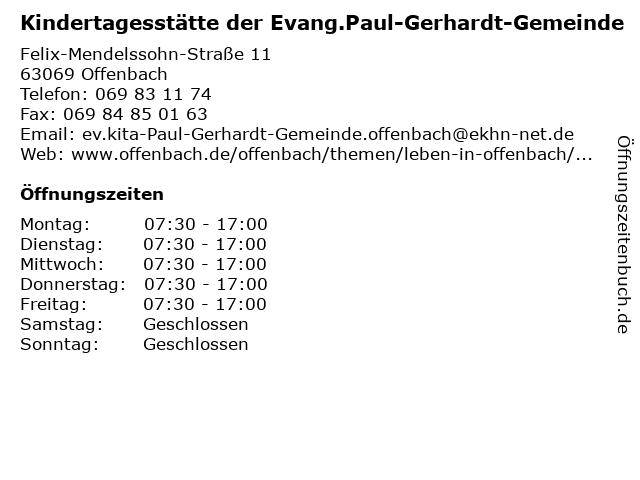 Kindertagesstätte der Evang.Paul-Gerhardt-Gemeinde in Offenbach: Adresse und Öffnungszeiten