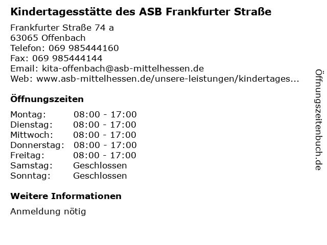 Kindertagesstätte des ASB Frankfurter Straße in Offenbach: Adresse und Öffnungszeiten