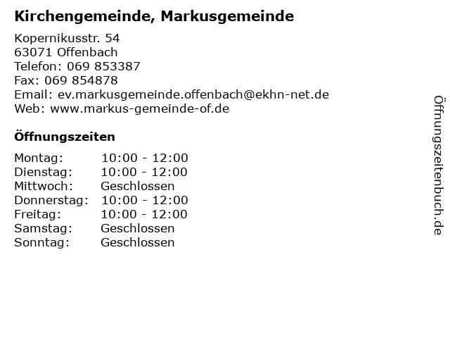 Kirchengemeinde, Markusgemeinde in Offenbach: Adresse und Öffnungszeiten