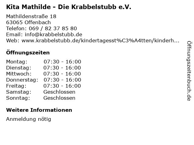 Kita Mathilde - Die Krabbelstubb e.V. in Offenbach: Adresse und Öffnungszeiten
