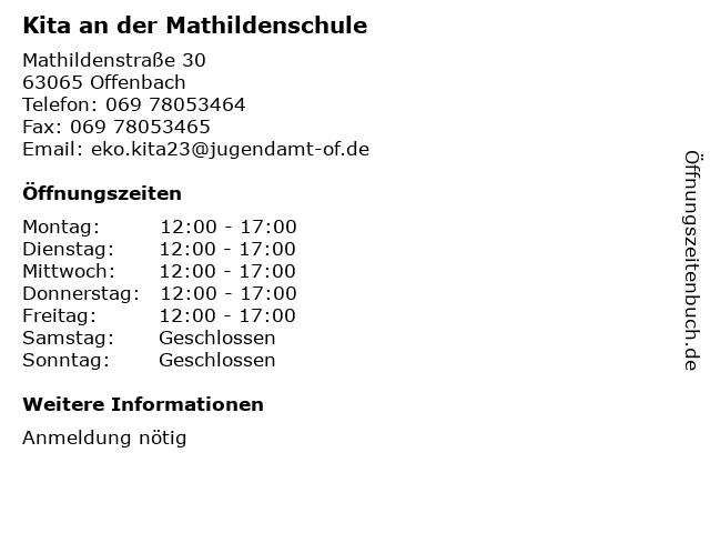 Kita an der Mathildenschule in Offenbach: Adresse und Öffnungszeiten